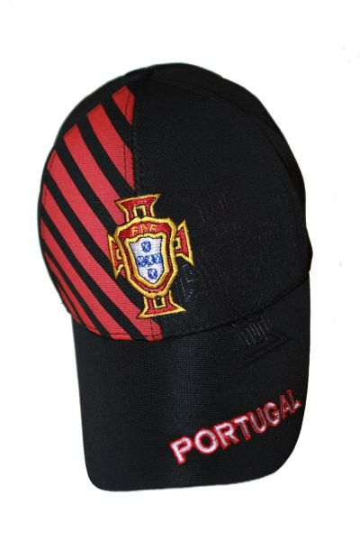 PORTUGAL BLACK WITH RED STRIPES FPF LOGO FIFA SOCCER WORLD CUP FLEXFIT HAT CAP .. NEW