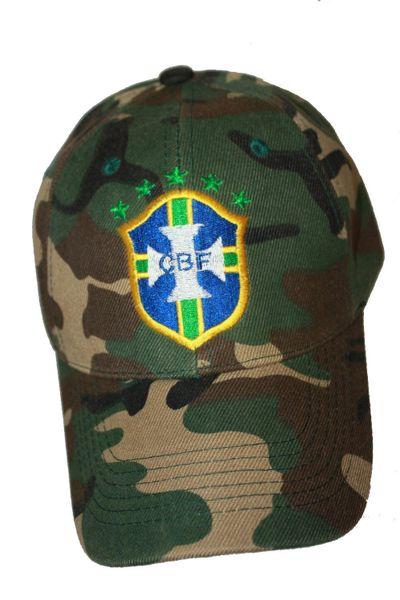 BRASIL CAMOUFLAGE , 5 STARS , CBF LOGO FIFA SOCCER WORLD CUP HAT CAP .. NEW