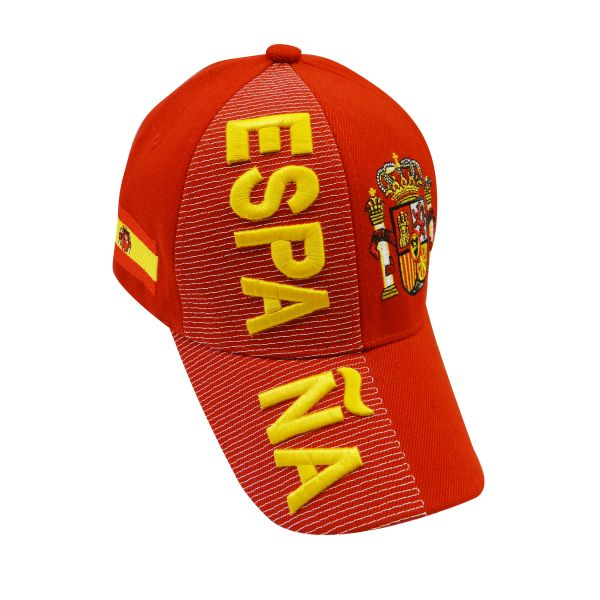 ESPANA RED COUNTRY FLAG , EMBOSSED HAT CAP .. NEW