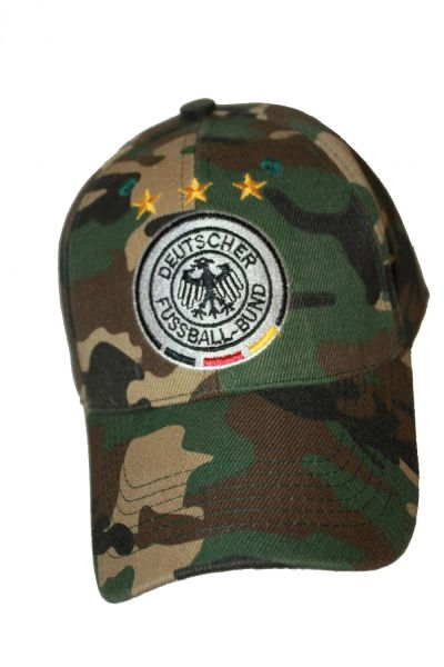 GERMANY CAMOUFLAGE , 3 STARS , DEUTSCHER FUSSBALL - BUND LOGO FIFA SOCCER WORLD CUP HAT CAP .. NEW