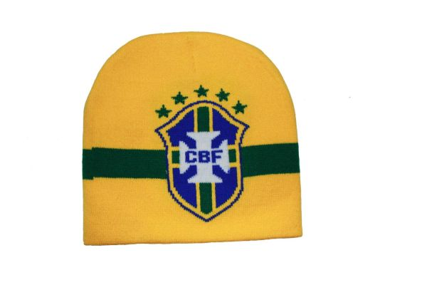 BRASIL YELLOW , 5 STARS , CBF LOGO FIFA SOCCER WORLD CUP TOQUE HAT .. NEW