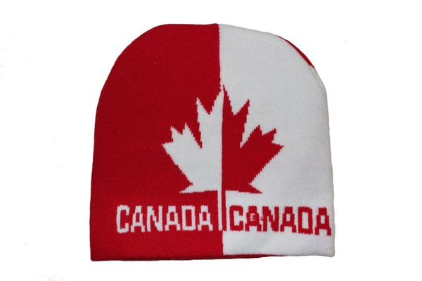 CANADA WHITE RED WITH WORD & MAPLE LEAF TOQUE HAT .. NEW