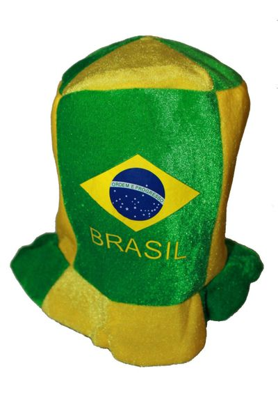BRASIL COUNTRY FLAG CLOWN STYLE HAT .. FOR ADULTS & KIDS .. HIGH QUALITY .. NEW