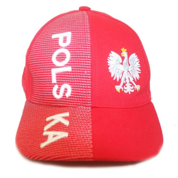 POLSKA POLAND RED WITH EAGLE EMBOSSED HAT CAP ... FOR KIDS AGES : 6 - 10 YEARS OLD .. HIGH QUALITY .. NEW