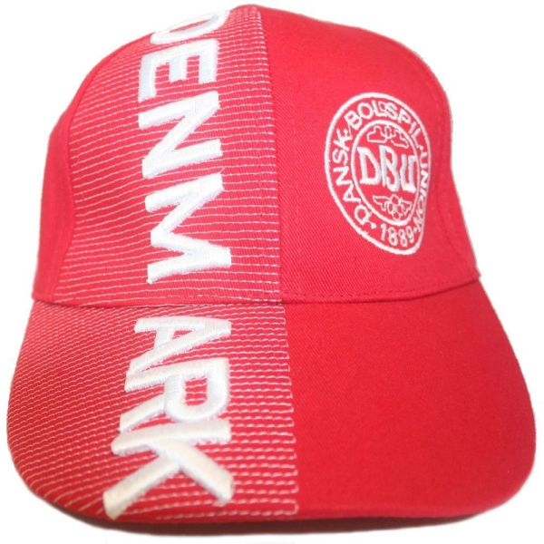 DENMARK RED BOLSPILE LOGO FIFA SOCCER WORLD CUP EMBOSSED HAT CAP. FOR KIDS AGES : 6 - 10 YEARS OLD .. HIGH QUALITY .. NEW