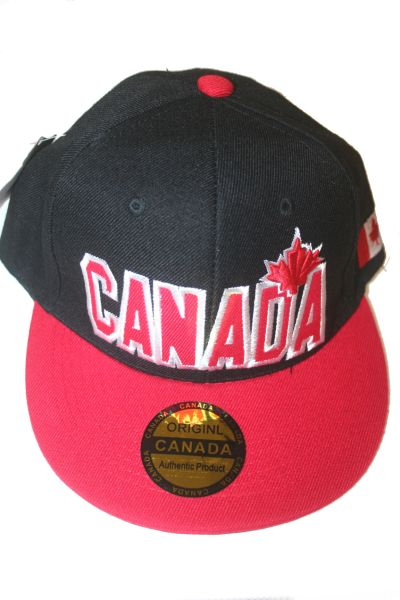 CANADA BLACK RED COUNTRY FLAG WITH MAPLE LEAF HIP HOP HAT CAP .. NEW