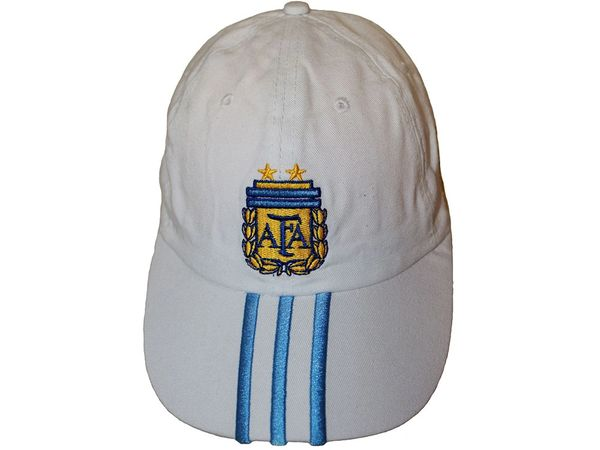 ARGENTINA WHITE WITH BLUE STRIPES AFA LOGO FIFA SOCCER WORLD CUP EMBOSSED HAT CAP .. NEW