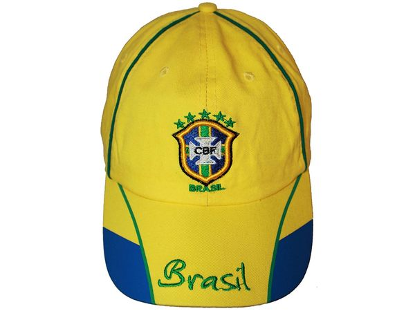 BRASIL YELLOW BLUE , 5 STARS , FIFA SOCCER WORLD CUP EMBOSSED HAT CAP .. NEW