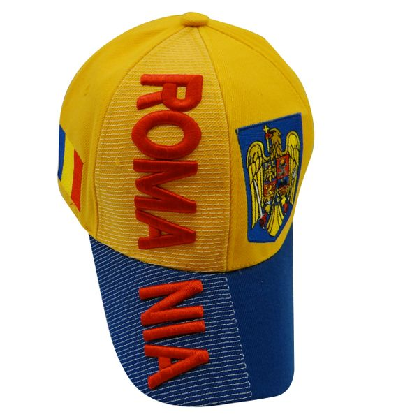 ROMANIA YELLOW BLUE COUNTRY FLAG , EMBOSSED HAT .. NEW