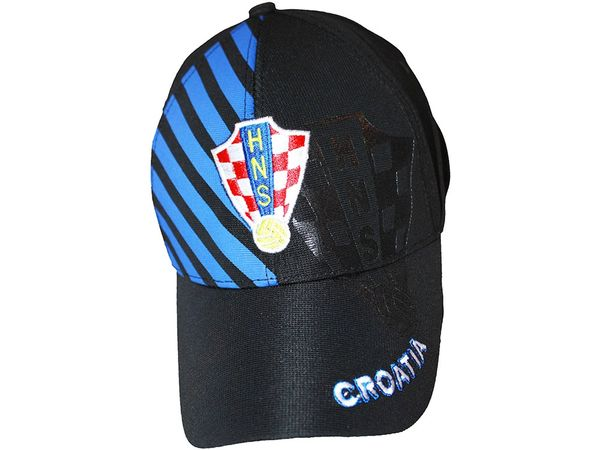 CROATIA BLACK WITH BLUE STRIPES HNS LOGO FIFA SOCCER WORLD CUP EMBOSSED HAT CAP .. NEW