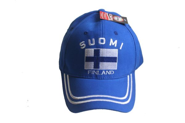 FINLAND SUOMI BLUE COUNTRY FLAG EMBOSSED HAT CAP .. NEW
