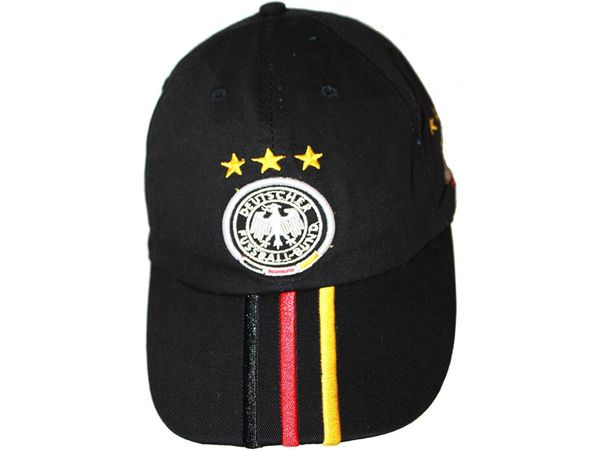 GERMANY BLACK WITH COLORED STRIPES , 3 STARS , DEUTSCHER FUSSBALL - BUND LOGO FIFA SOCCER WORLD CUP EMBOSSED HAT CAP .. NEW