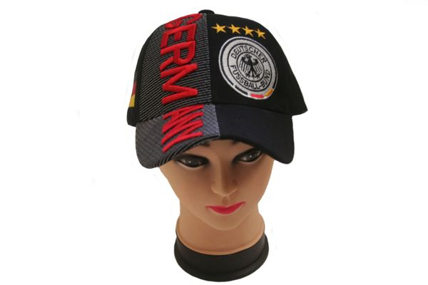 GERMANY BLACK , 4 STARS ,COUNTRY FLAG , DEUTSCHER FUSSBALL - BUND LOGO FIFA SOCCER WORLD CUP EMBOSSED HAT CAP .. NEW