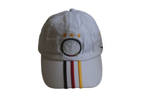GERMANY WHITE WITH COLORED STRIPES , 3 STARS ,DEUTSCHER FUSSBALL - BUND LOGO FIFA SOCCER WORLD CUP EMBOSSED HAT CAP .. NEW