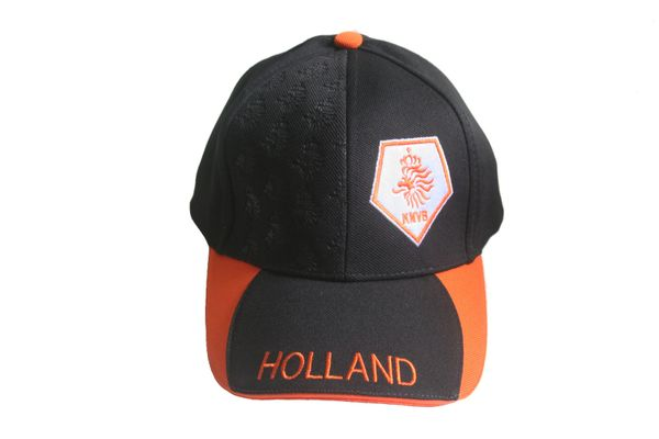 HOLLAND BLACK ORANGE KNVB LOGO FIFA SOCCER WORLD CUP EMBOSSED HAT CAP .. NEW