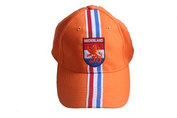 NEDERLAND ORANGE WITH LION , COLORED STRIPES , EMBOSSED HAT CAP .. NEW