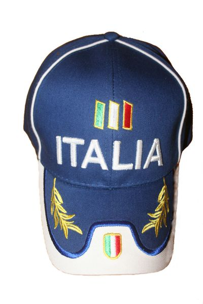 ITALIA BLUE , COUNTRY FLAG ON BRIM EMBOSSED HAT CAP .. FOR KIDS..NEW