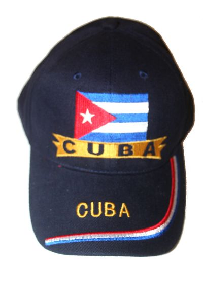 CUBA BLUE COUNTRY FLAG EMBOSSED HAT CAP .. NEW