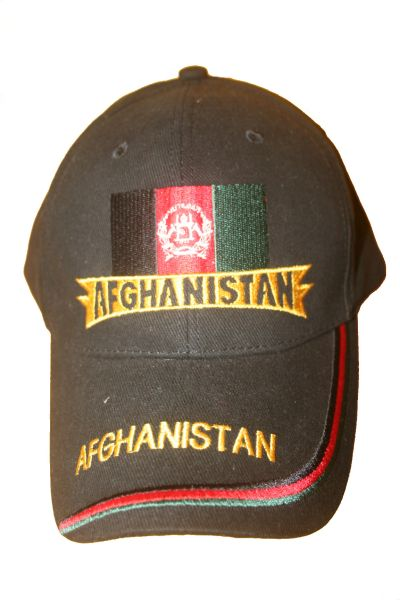 AFGHANISTAN BLACK COUNTRY FLAG  EMBOSSED HAT CAP   ..  NEW