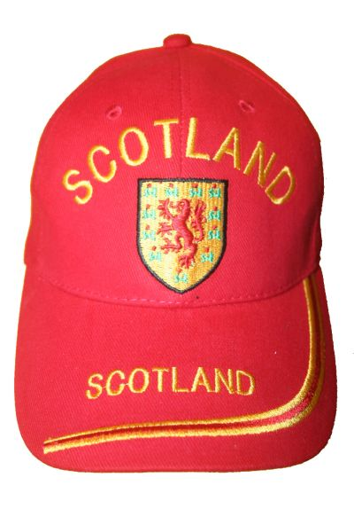 SCOTLAND RED COUNTRY FLAG WITH LION EMBOSSED HAT CAP .. NEW