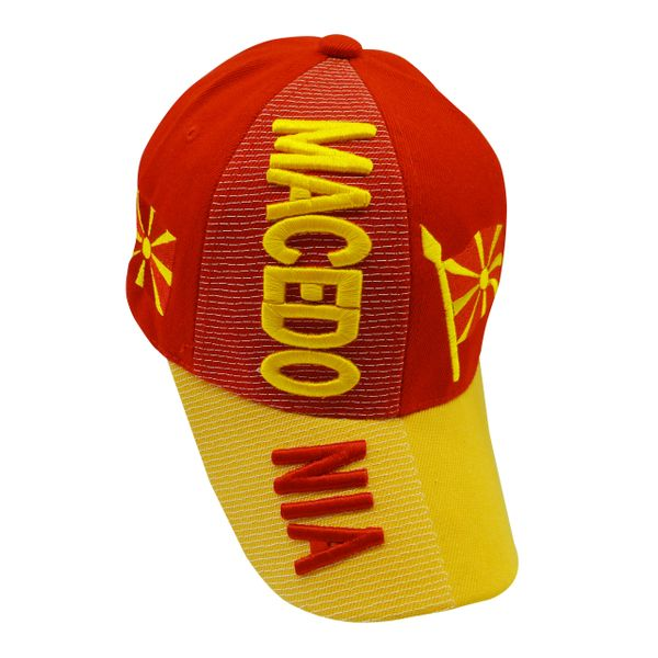MACEDONIA YELLOW RED COUNTRY FLAG , EMBOSSED HAT CAP .. NEW