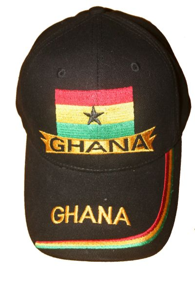 GHANA BLACK COUNTRY FLAG EMBOSSED HAT CAP .. NEW