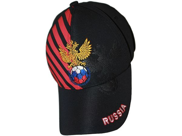 RUSSIA BLACK WITH RED STRIPES 2 HEAD EAGLE FIFA SOCCER WORLD CUP EMBOSSED HAT CAP .. NEW