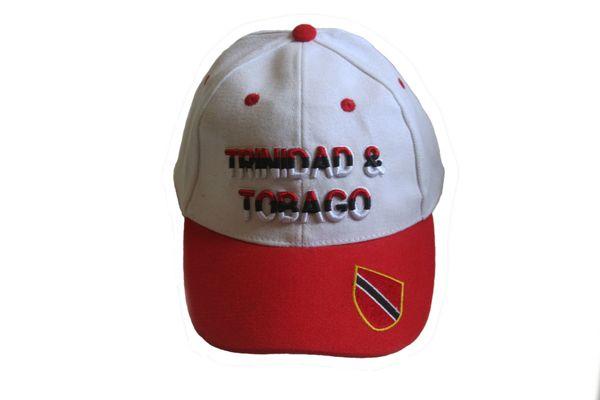 TRINIDAD & TOBAGO WHITE RED EMBOSSED HAT CAP .. NEW