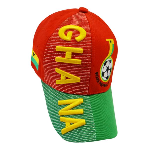 GHANA RED GREEN COUNTRY FLAG , EMBOSSED HAT CAP .. NEW
