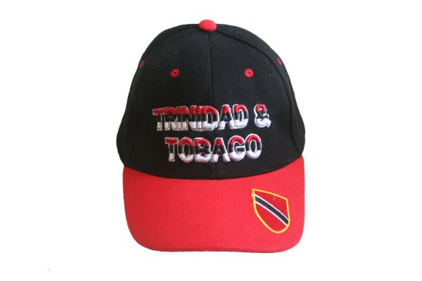 TRINIDAD & TOBAGO BLACK RED WITH COUNTRY FLAG ON BRIM EMBOSSED HAT CAP .. NEW