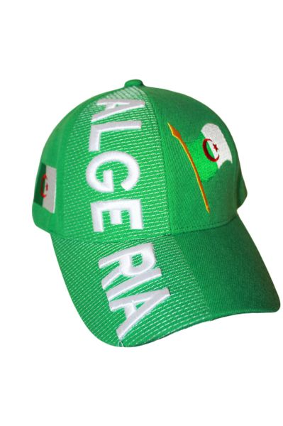 ALGERIA GREEN COUNTRY FLAG EMBOSSED HAT CAP .. NEW