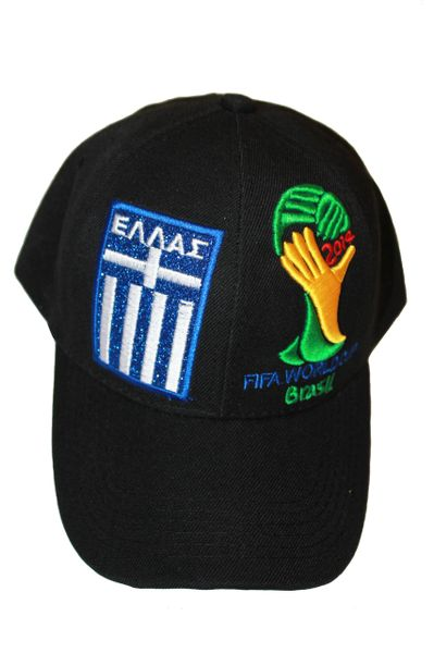 GREECE HELLAS BLACK COUNTRY FLAG FIFA SOCCER WORLD CUP 2014 EMBOSSED HAT CAP .. NEW