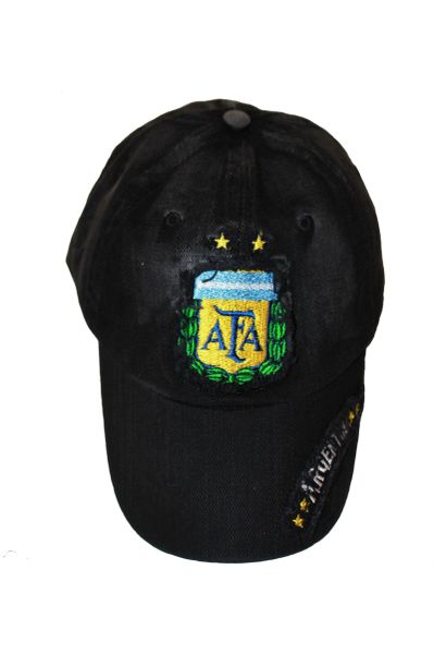 ARGENTINA BLACK , 2 STARS , AFA LOGO FIFA SOCCER WORLD CUP EMBOSSED HAT CAP .. NEW