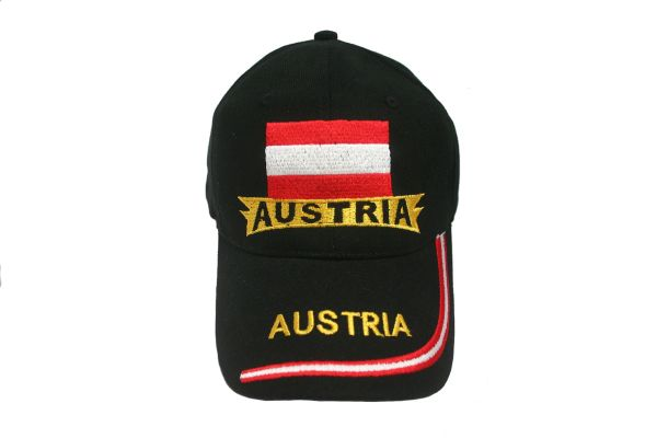 AUSTRIA BLACK COUNTRY FLAG EMBROIDERED HAT CAP .. NEW