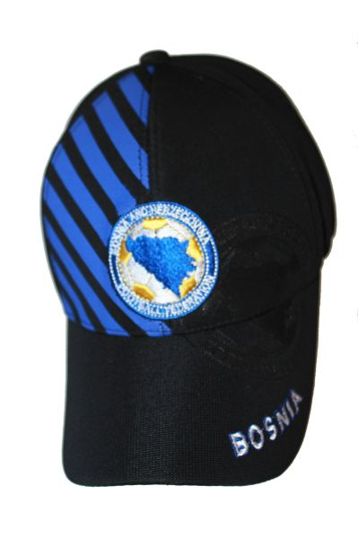 BOSNIA BLACK WITH BLUE STRIPES EMBOSSED HAT CAP .. NEW