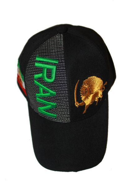 IRAN BLACK COUNTRY FLAG WITH LION EMBOSSED HAT CAP .. NEW
