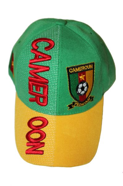 CAMEROON YELLOW GREEN COUNTRY FLAG FIFA SOCCER WORLD CUP EMBOSSED HAT CAP .. NEW