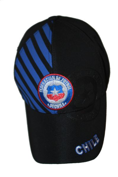 CHILE BLACK WITH BLUE STRIPES FIFA SOCCER WORLD CUP EMBOSSED HAT CAP .. NEW