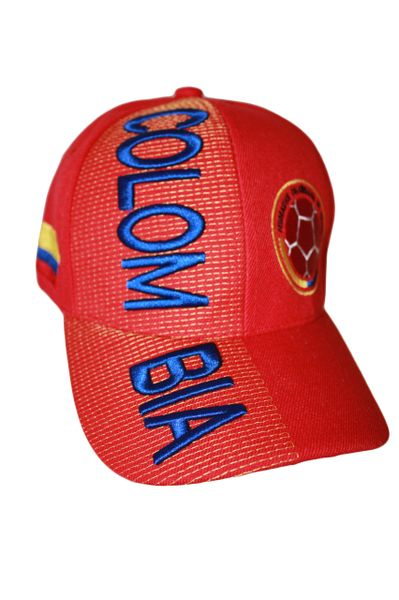 COLOMBIA RED COUNTRY FLAG FIFA SOCCER WORLD CUP EMBOSSED HAT CAP .. NEW