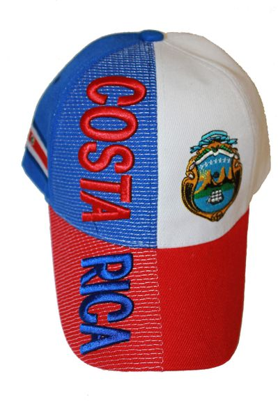 COSTA RICA RED BLUE WHITE COUNTRY FLAG EMBOSSED HAT CAP .. NEW