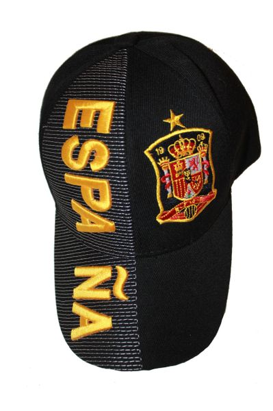 ESPANA BLACK , 1 STAR , COUNTRY FLAG EMBOSSED HAT CAP .. NEW