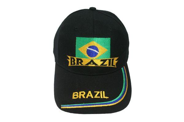 BRASIL BLACK COUNTRY FLAG EMBOSSED HAT CAP .. NEW