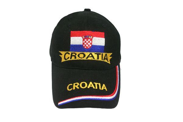 CROATIA BLACK COUNTRY FLAG EMBOSSED HAT CAP .. NEW