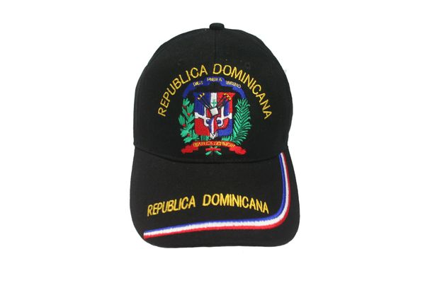 DOMINICAN REPUBLIC BLACK COUNTRY FLAG EMBOSSED HAT CAP .. NEW