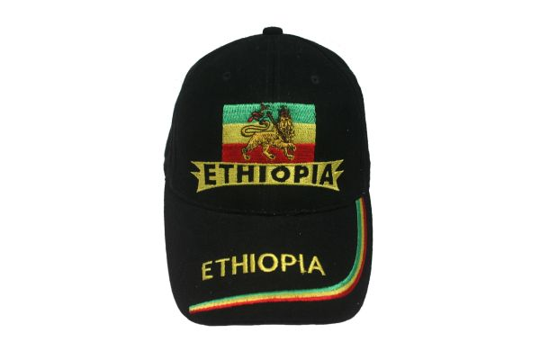ETHIOPIA BLACK COUNTRY FLAG WITH LION EMBOSSED HAT CAP .. NEW