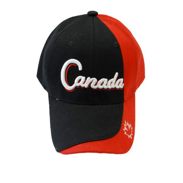"CANADA BLACK RED WITH WORD ""CANADA"" & MAPLE LEAF ON BRIM EMBOSSED HAT CAP .. NEW"