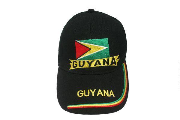 GUYANA BLACK COUNTRY FLAG EMBOSSED HAT CAP .. NEW