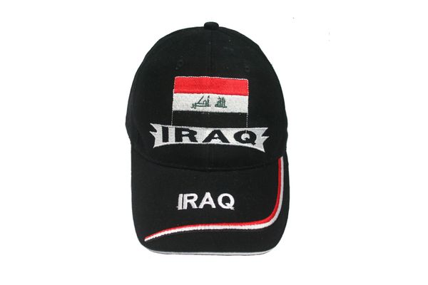 IRAQ BLACK COUNTRY FLAG EMBOSSED HAT CAP .. NEW