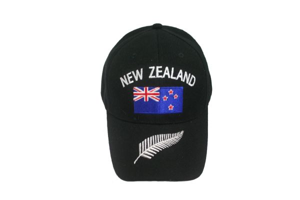 NEW ZEALAND BLACK COUNTRY FLAG EMBROIDERED HAT CAP .. NEW