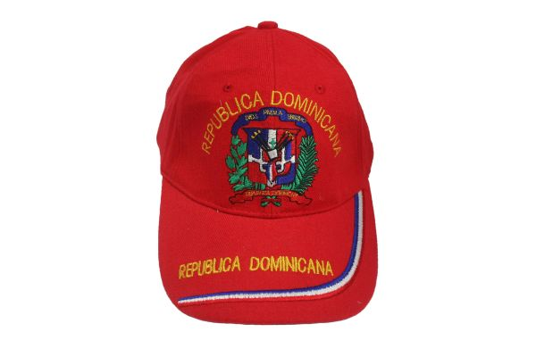 DOMINICAN REPUBLIC RED COUNTRY FLAG EMBOSSED HAT CAP .. NEW